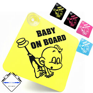 BABY ON BOARD - Cute Baby - car window sign with suction cups