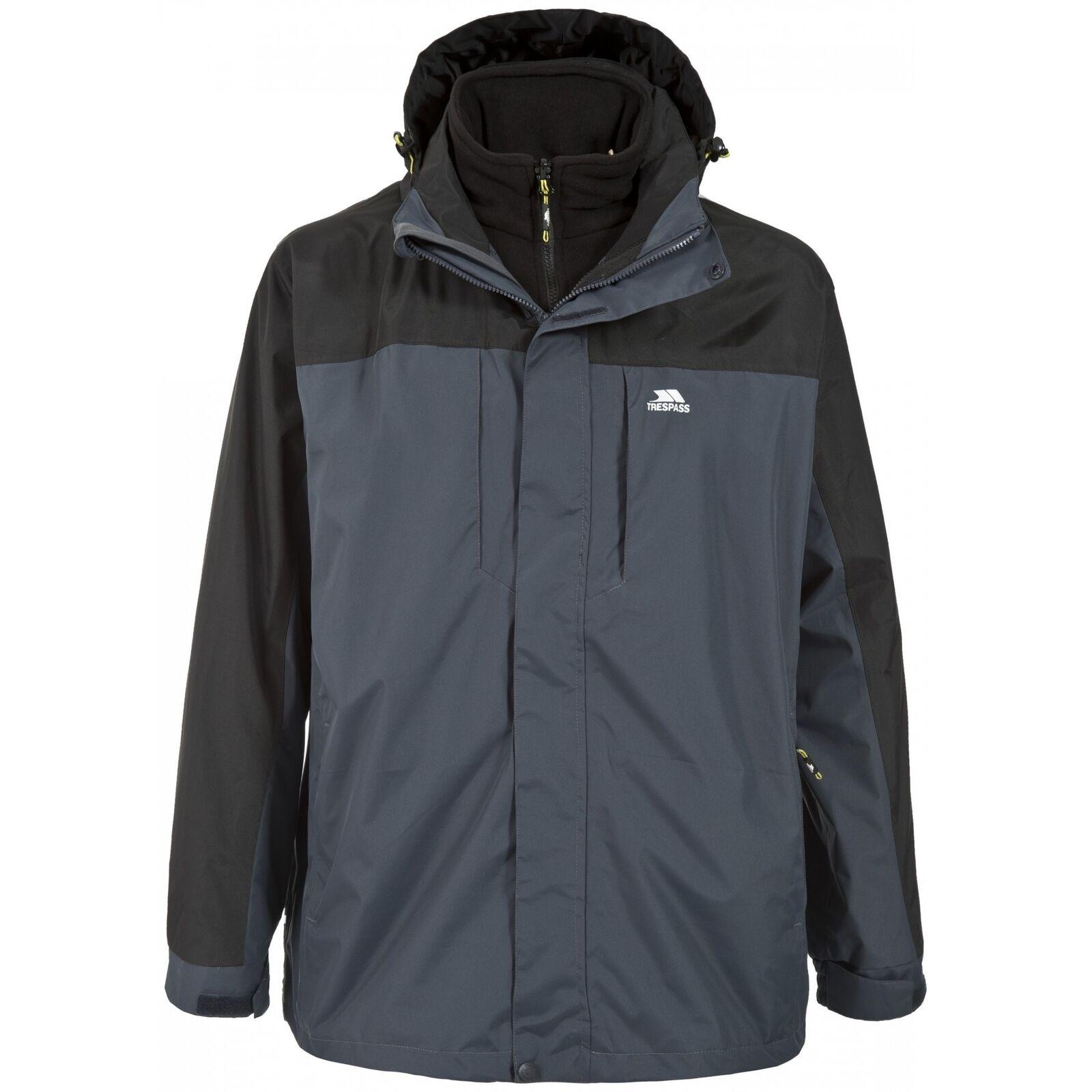 TP1301 Trespass Mens Faris Full Zip 3 In 1 Jacket 2 Colours 7 Sizes XXS-XXL
