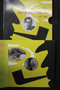 BELGIO-2003-MONETA-10-euro-ARGENTO-IN-FOLDER-FS-BE-PP-100-GEORGES-SIMENON