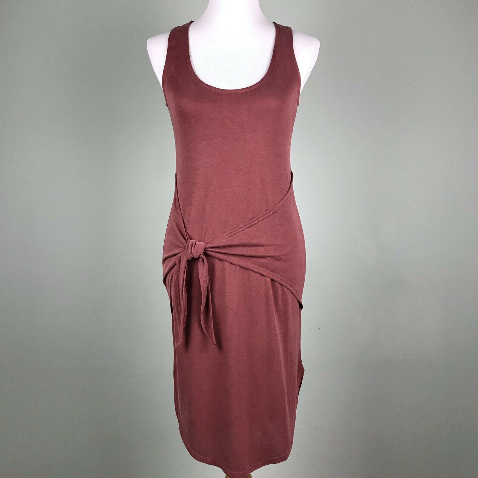 Gianni Bini Red Tank Dress Size XS 0 2 Sleeveless Tie Sash Waist Bodycon
