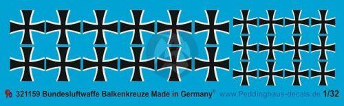 Peddinghaus 1//32 Balkenkreuz Modern German Air Force Iron Cross 1159 2 sizes