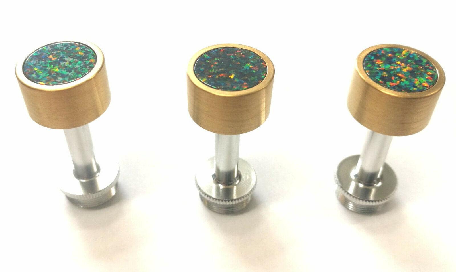 Satin Gold Trompete Finger Knöpfe mit Grün-Orange Synthetisch Opal für Besson