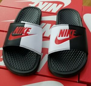 70a88d19f9bda1 NIKE BENASSI JDI SLIDES BLACK GAME RED-WHITE 343880 006 MEN US SZ 12 ...
