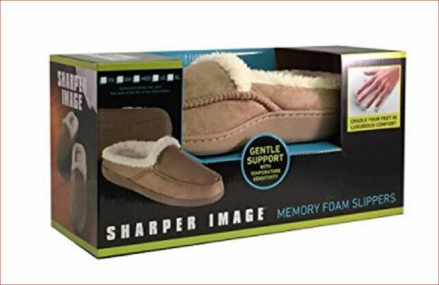 SOFT FABRIC NIB ADULT UNISEX Sharper Image BLACK Memory Foam SLIPPERS Non Skid