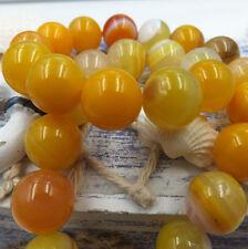 10mm 5pcs yellow Stripe Agate Natural Gemstone Round Spacer Loose Beads