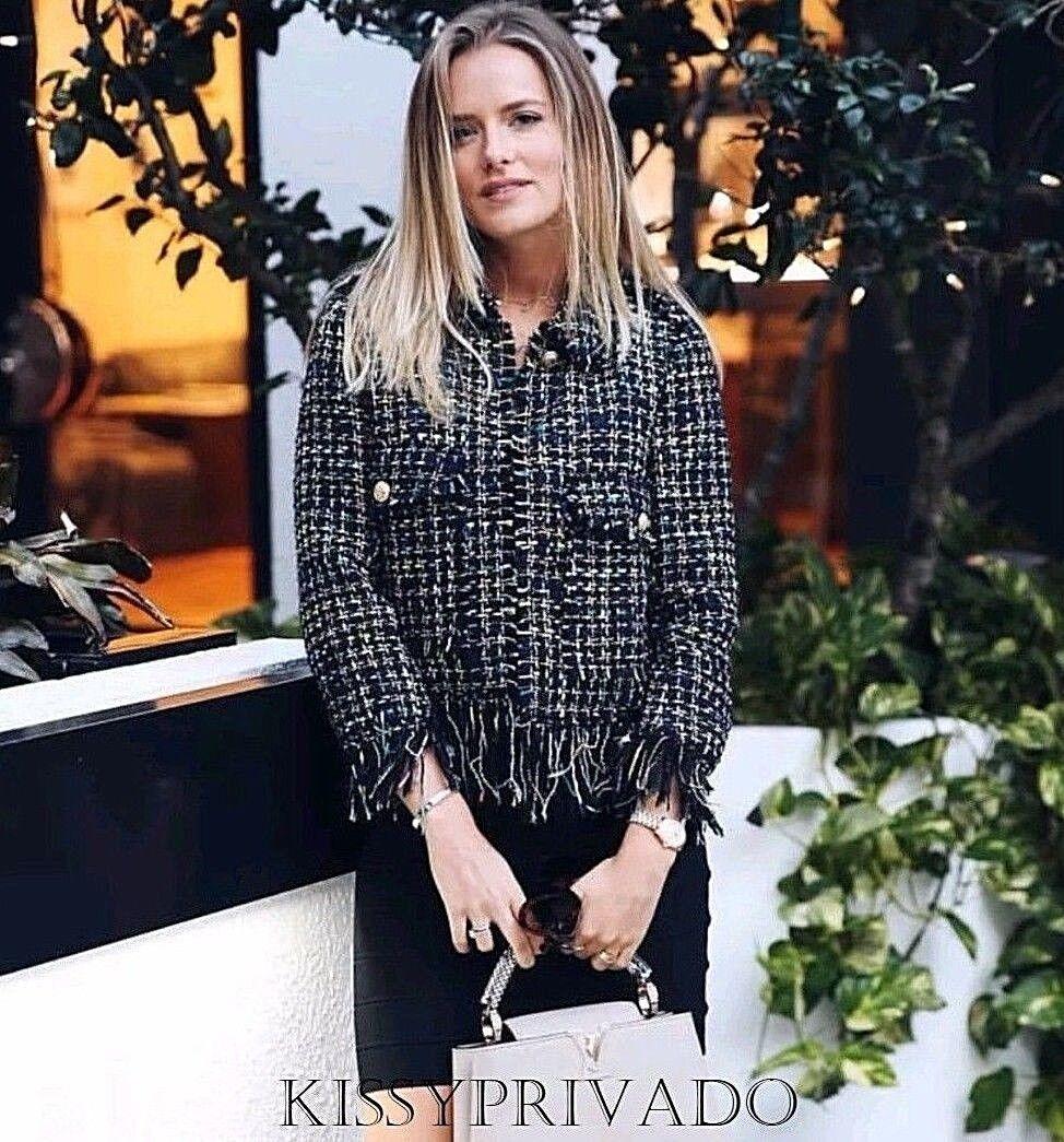 Zara Noir MultiCouleure Fantasy tweed frangée Veste Blazer XL BNWT