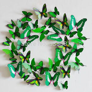 12pcs-3D-Butterfly-Sticker-Art-Wall-Mural-Door-Decals-Home-Decor-GREEN