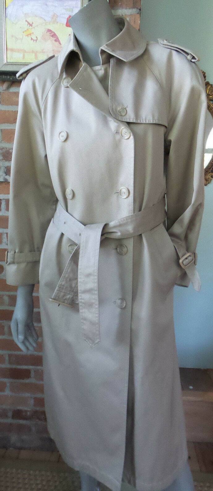 Classic Trench Coat by Evan Picone Double Breasted Belted w  Picone SCARF Lined