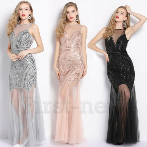 1920s Flapper Dress 20s Gatsby Party Long Dresses Wedding Bridesmaid Prom Dress
