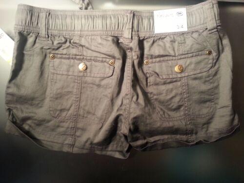 NWT ECKO UNLTD Junior Woman Soft Drawstring Elastic Mini Shorts100/% Cotton Taupe