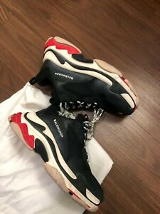 Balenciaga-Triple-S-Bred-Black-Red-Sz-10-Made-in-Italy-first-Batch