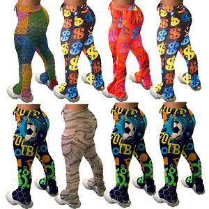 NEW Women/'s Stylish Gradient Print Draped Pocket Skinny Club Long Pants Bottom