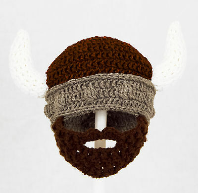Viking Beard Hat, Gray Helmet Knit / Crochet Beard Beanie baby-adult