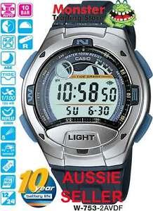 CASIO-WATCH-W-753-2AV-W753-FISHING-WATCH-TIDE-GRAPH-12-MONTH-WARRANTY