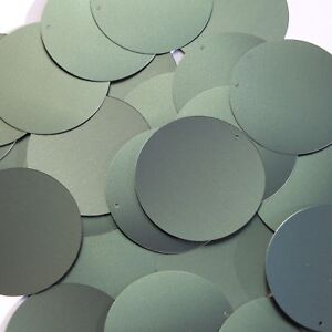 "Round Sequin 24mm 1/"" Silver Matte Satin Metallic Loose Couture Paillettes"