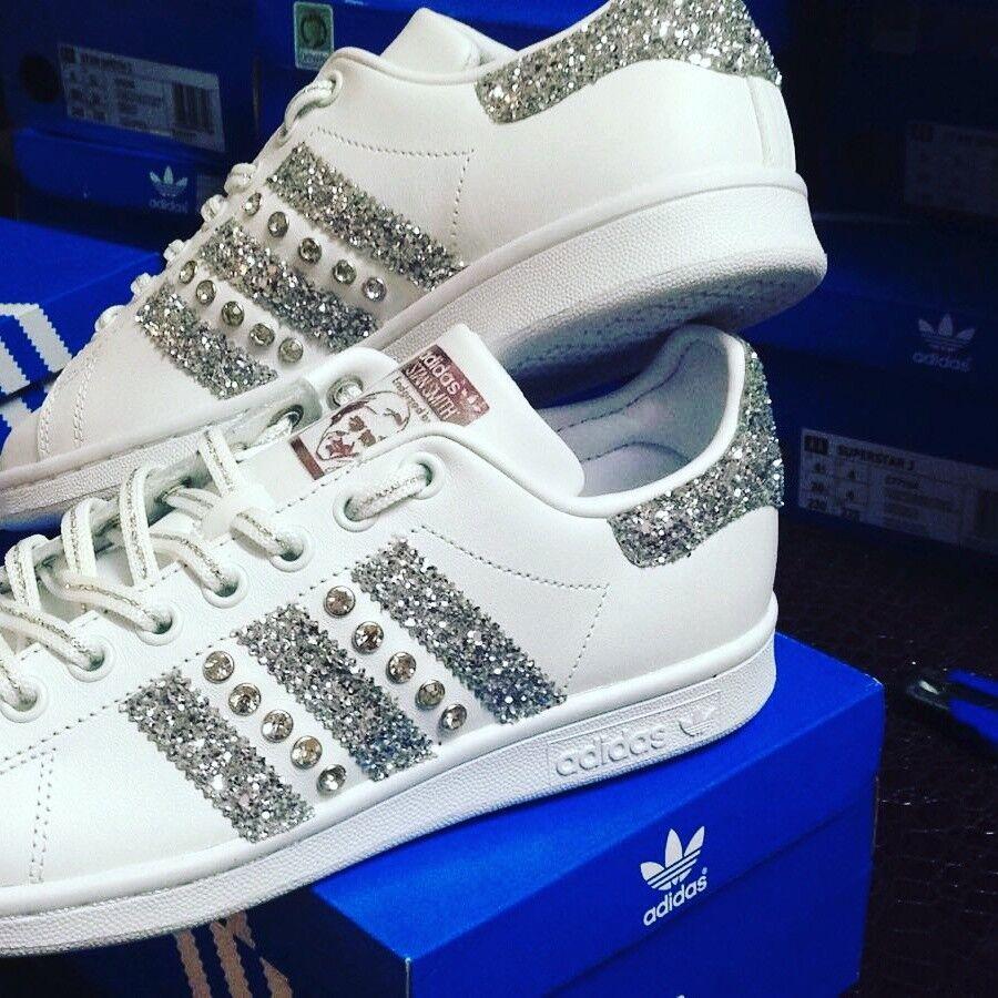 Scarpe adidas stan smith con swaroski glitter argento e swaroski con 370ac5