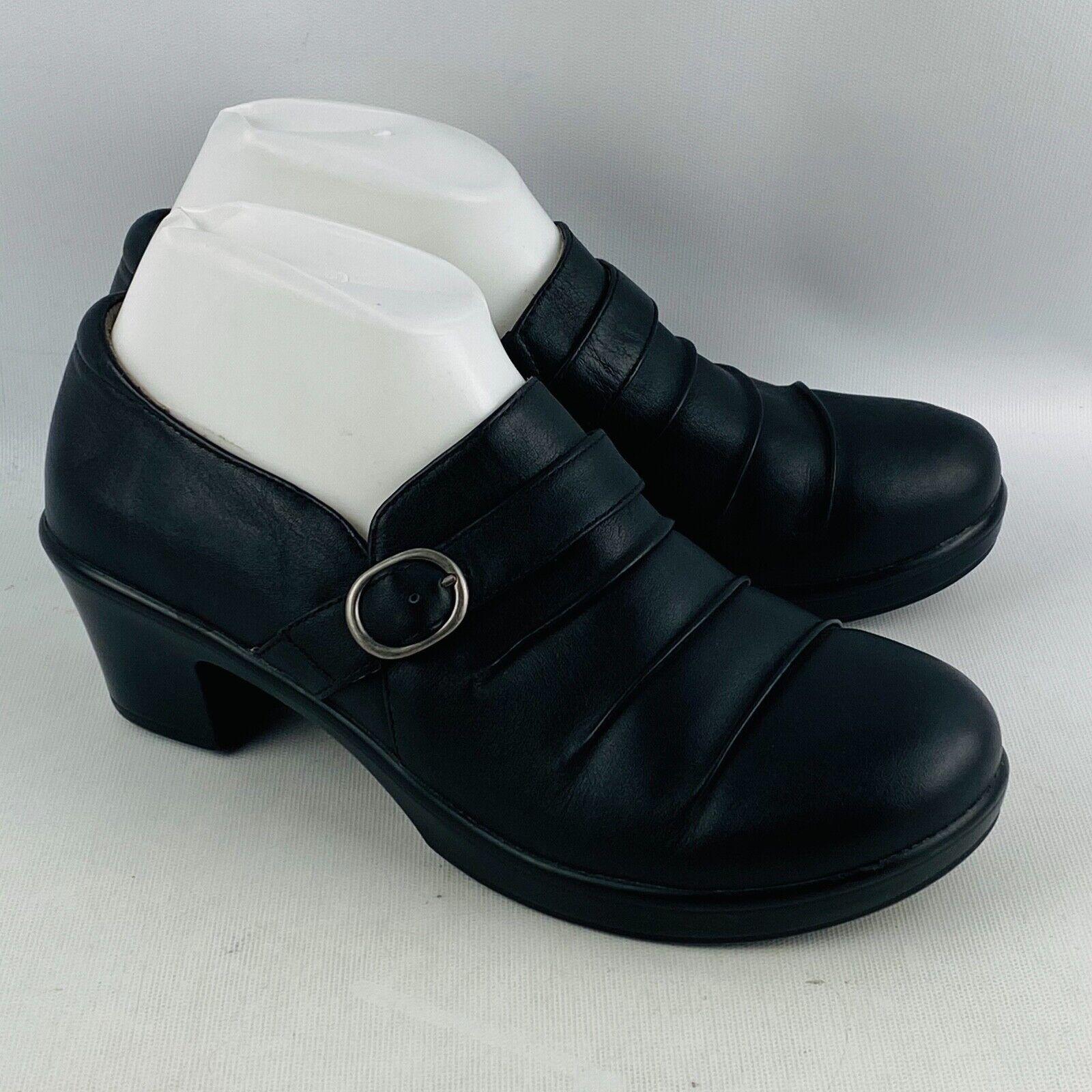 Womens EU 39 US 9-9.5 Alegria Halli Black Nappa Dress Leather Slip On Shoes