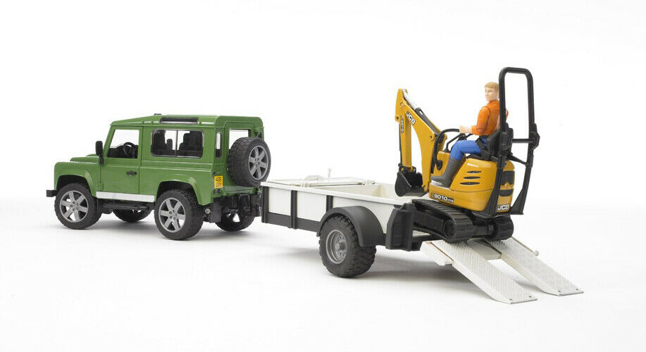 Bruder Land Rover Defender with Trailer, JCB Micro Excavator Excavator Excavator and Constru db912b