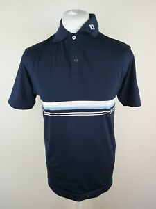 Mens-Footjoy-Golf-Polo-Shirt-Small-38-Chest-Blue-Stripe-Polyester