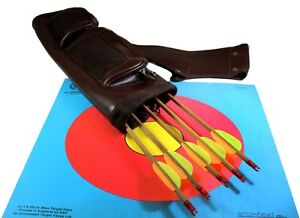 BROWN-LEATHER-ARCHERY-ARROW-QUIVER-a-pouch