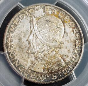 1953-Panama-Republic-Beautiful-Silver-1-2-Balboa-Coin-Gem-PCGS-MS-65
