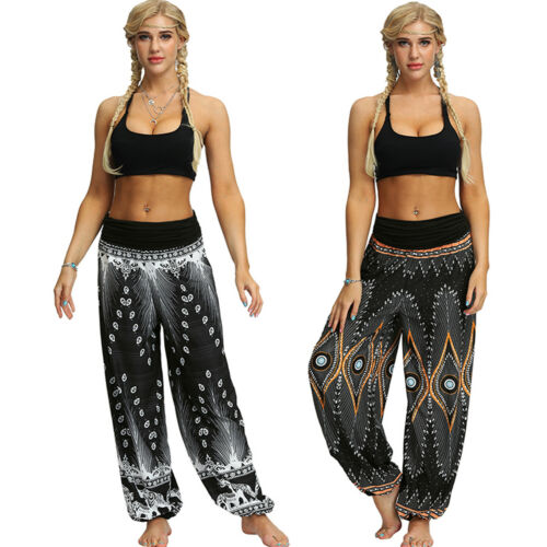 Damen Thailand Hippie Yoga Hose Lose Haremshose Pluderhose Pump Aladin Leggings
