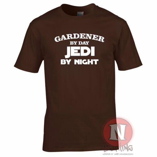 Jedi by night fun retirement leaving birthday Star Wars t-shirt Gardener by day
