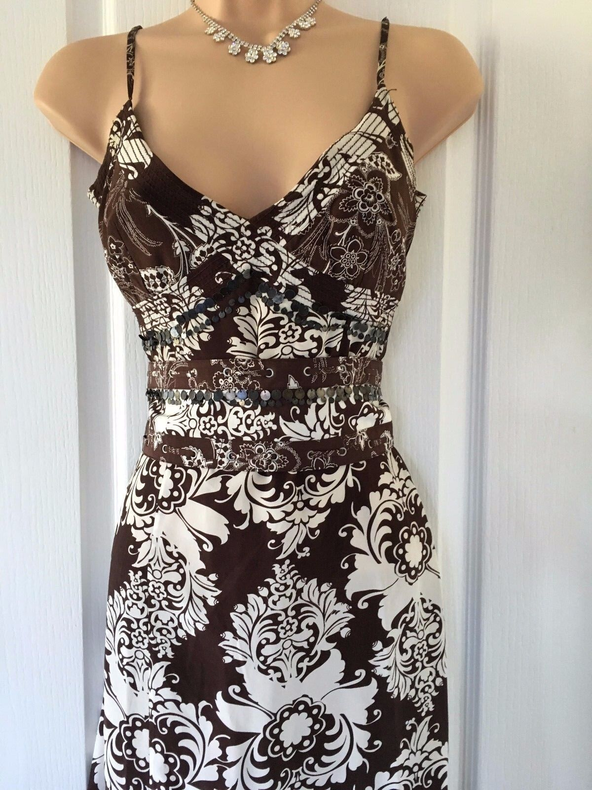 Karen Millen Brown Cream Floral Silk  Dress Size 12