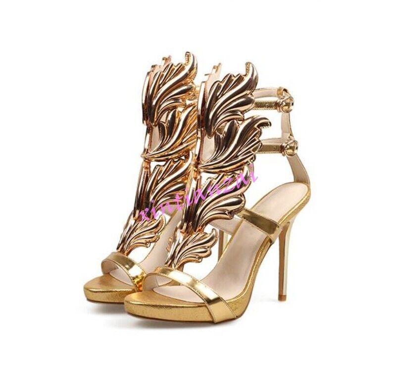 Womens Sexy Open Toe Vogue leaf Metal Color Sandals Stilettos Shoes