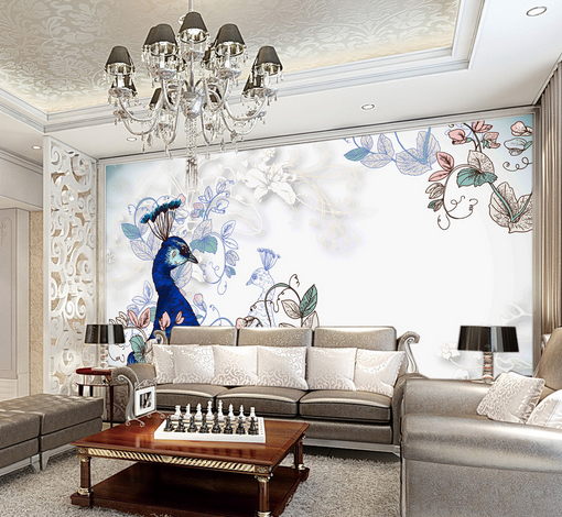 3D Pfau Gärten Malerei 45 Tapete Tapeten Mauer Foto Familie Tapete Wandgemälde