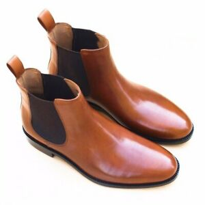 Handmade-Chelsea-Boots-Light-Tan-Brown-Fashion-Party-Casual-Calf-Leather-Shoes