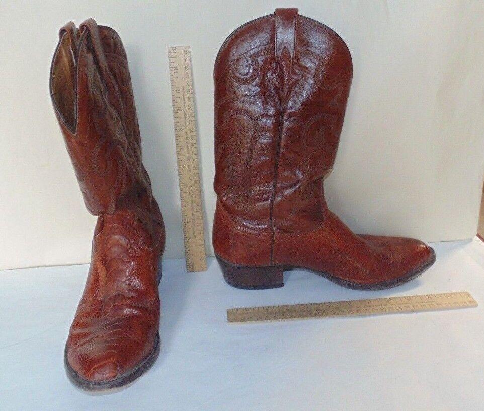 Resistol Ranch Occidentales botas vaqueras-tamaño 8 1 2 Extra Ancho-Marrón Cuero De Serpiente Y