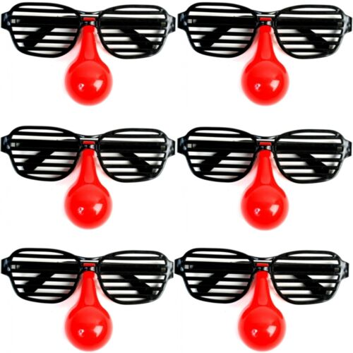 6x Occhiali da clown-PAGLIACCIO DIVERTIMENTO Occhiali Occhiali Occhiali Party con controventi /& naso rosso 15cm