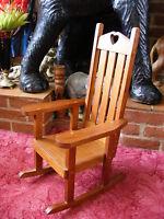 Decorative Pine Old Vintage Retro Wooden Kids Children Doll Teddy Rocking Chair