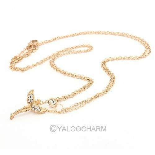 Hot Sale Full Rhinestone Lady's Necklace Wing Angel Pendant Golen Necklace