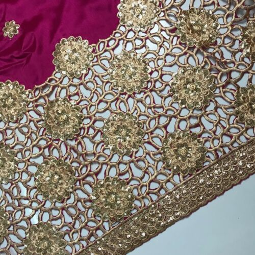 New Silk African George Lace Fabric Embroidery Sequins Fabric Cotton Fushcia 5 Y