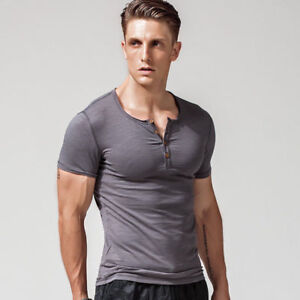 Men Button Neck Henley T-shirt Stretch Short Sleeve Top Tee Slim Slub Cotton New
