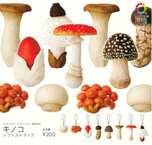 Capsule NATURE TECHNI COLOUR MONO Mushroom Strap Keychain set of 8 Capsule toy