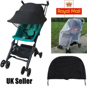 Baby/Child Pushchair Stroller Pram Buggy Sun Shade Canopy Cover Universal Black