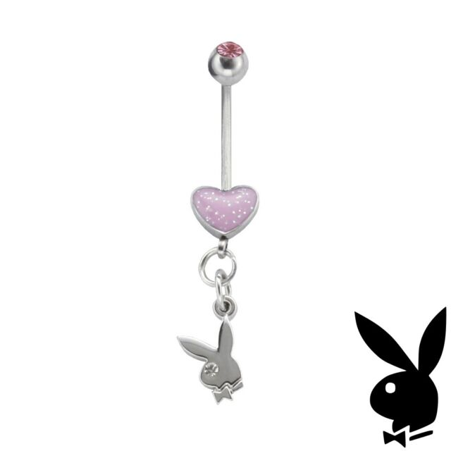 Playboy Belly Ring Body Jewelry Gem Heart Bunny Dangle Surgical Steel VALENTINES