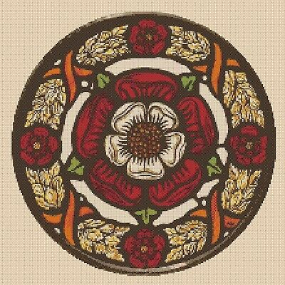 cross stitch chart Tudor Rose Stained Glass no 452 FlowerPower37-uk
