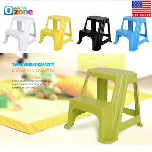 2 Step Plastic Step Up Stools Large Heavy Duty New Kitchen