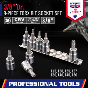 """8Pc Torx Star Socket Set 3/8"""" Drive Bit Tamper Proof Security With Rack SDY96016"""