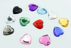 5pcs-25mm-Flat-Back-Rhinestones-Faceted-Heart-Face-Gem-Card-Making-Embellishment