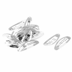 Women-DIY-Craft-Hairpin-Snap-Hair-Clip-Barrette-Silver-Tone-48mm-Length-20pcs