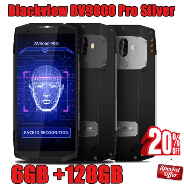 2 Kam Hanys Hybrid SIM Fingerprint NFC WIFI GPS Blackview BV9000 Pro Silber DE