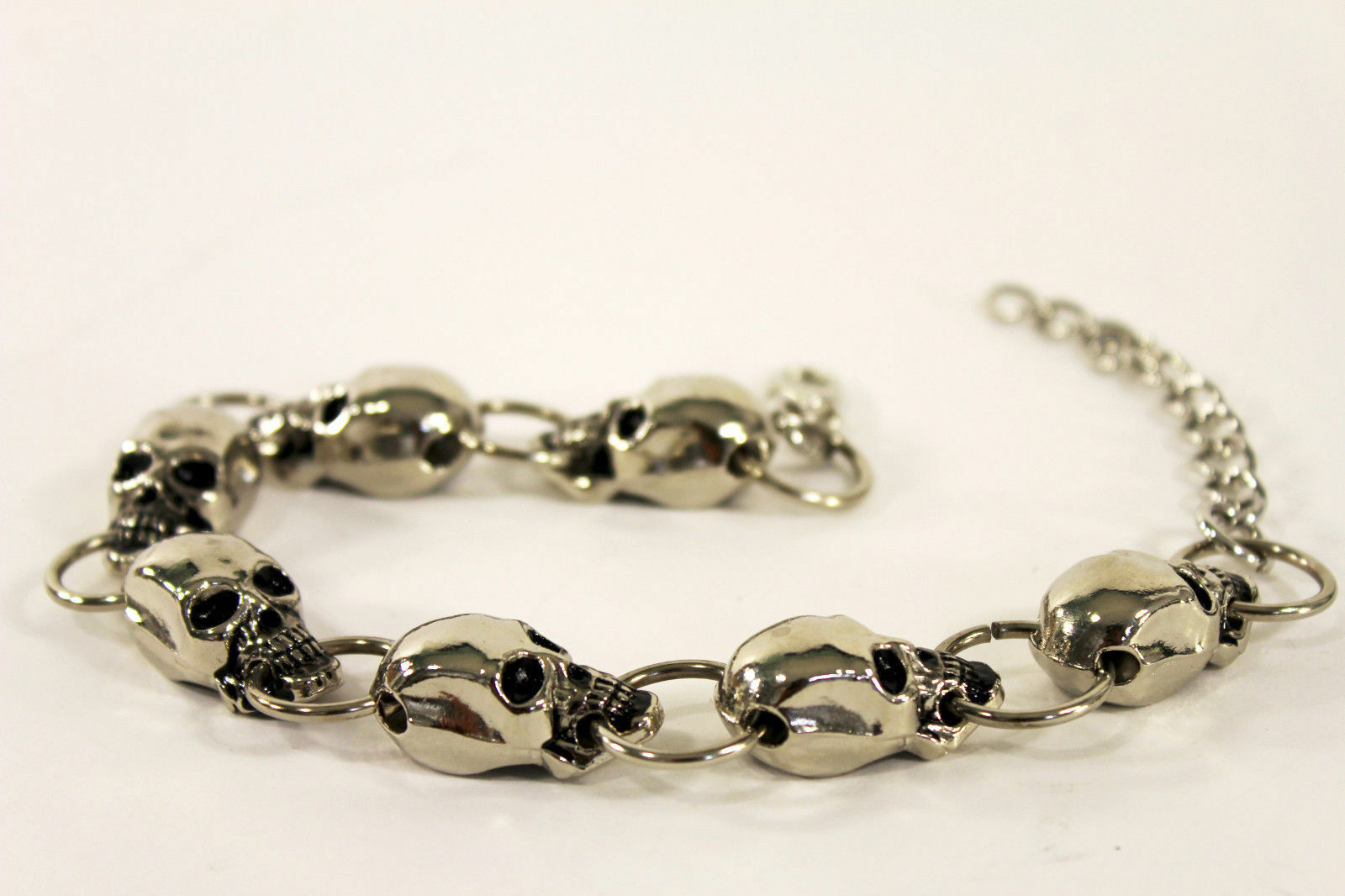 Women Gothic Jewelry Boot Anklet Bracelet Silver Metal Chain Skull Shoe Charms