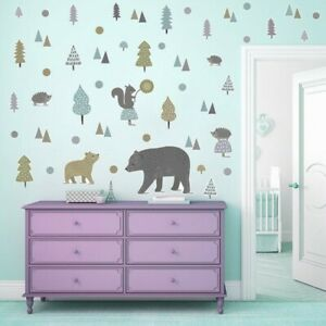 Nordic-Animals-Wall-Stickers-Dot-Forest-Bear-Cartoon-PVC-Decal-Kids-Room-Decor
