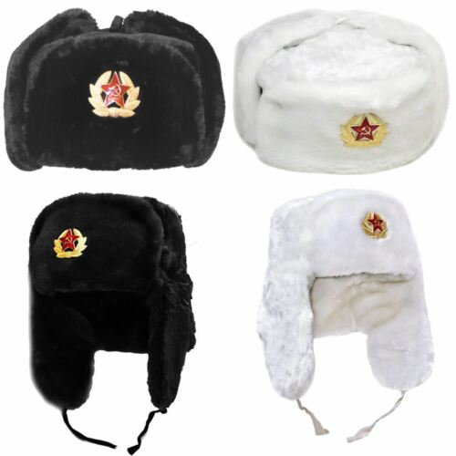 Russian Trapper Hat Cap With Soviet Badge Faux Fur Ushanka Cossack Flaps Hat
