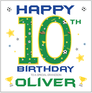 Image Is Loading Personalised 10th Birthday Card Boys Football Any Age